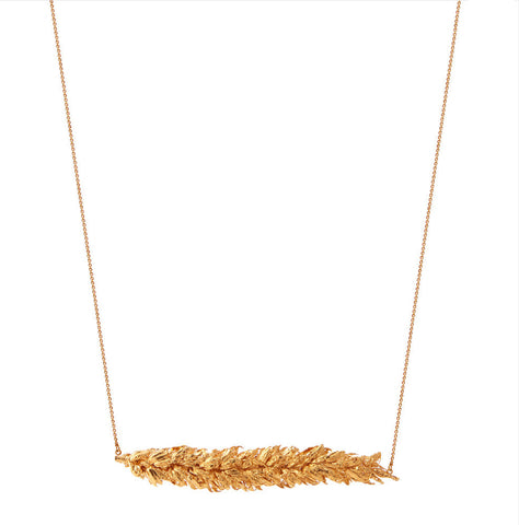 Gold Contains Wheat Pendant Necklace - IndependentBoutique.com