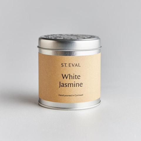 silver tin candle with lid from St Eval. in white jasmine at IndependentBoutique.com
