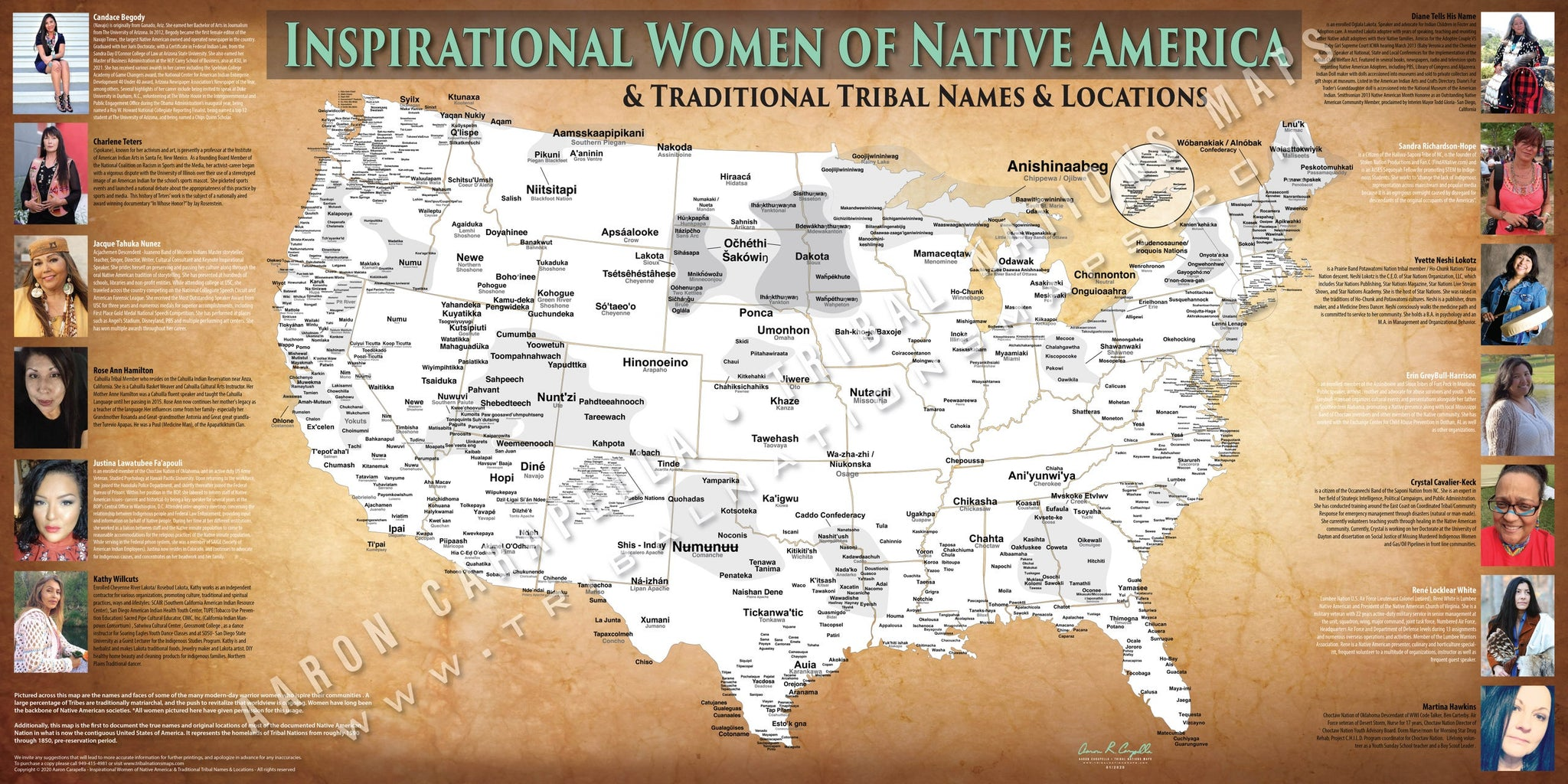 Inspirational Women of Native American Map Poster