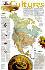 Native American / Indigenous Peoples Cultures of North America Map Poster