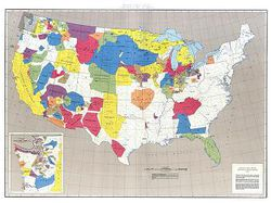 "Native American Judicial Land Areas Map Poster - 51""x38"""