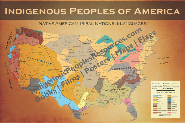 Native American Map of Tribal Nations & Tribal Languages - Poster/Wall Map