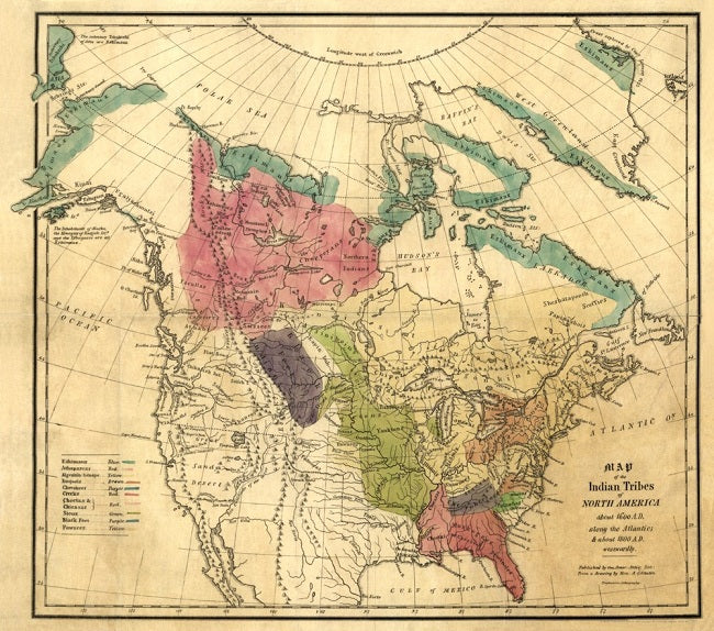 Native American Tribes of North America in 1836 Map Poster