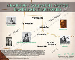 Numunuu / Comanche Nation Tribes and Territories Map Poster