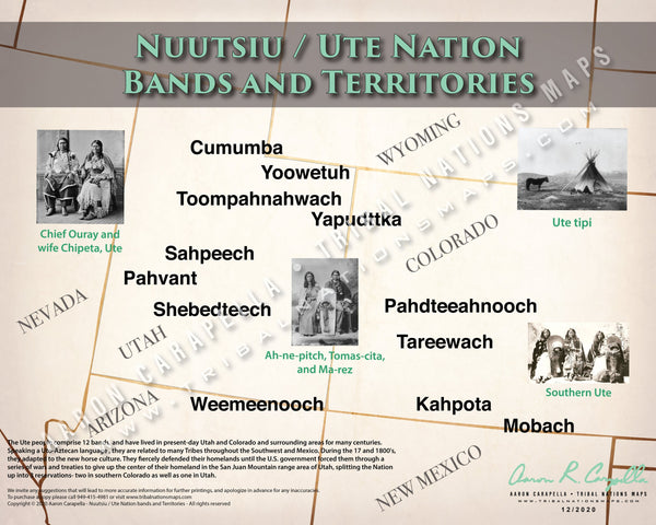 Nuutsiu / Ute Nation Bands & Territories Map Poster
