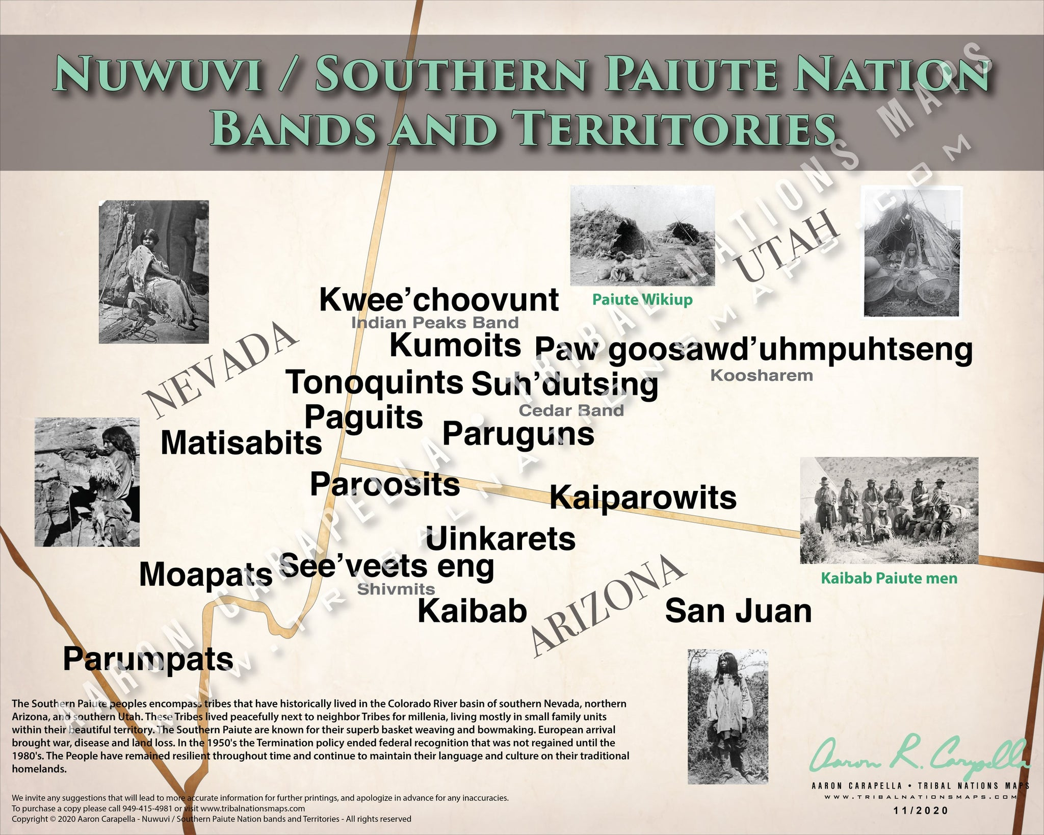 Nuwuvi / Southern Paiute Nation Bands and Territories Map Poster