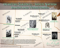 Očhéthi Šakówiŋ / Sioux Nation Tribes and Territories Map Poster
