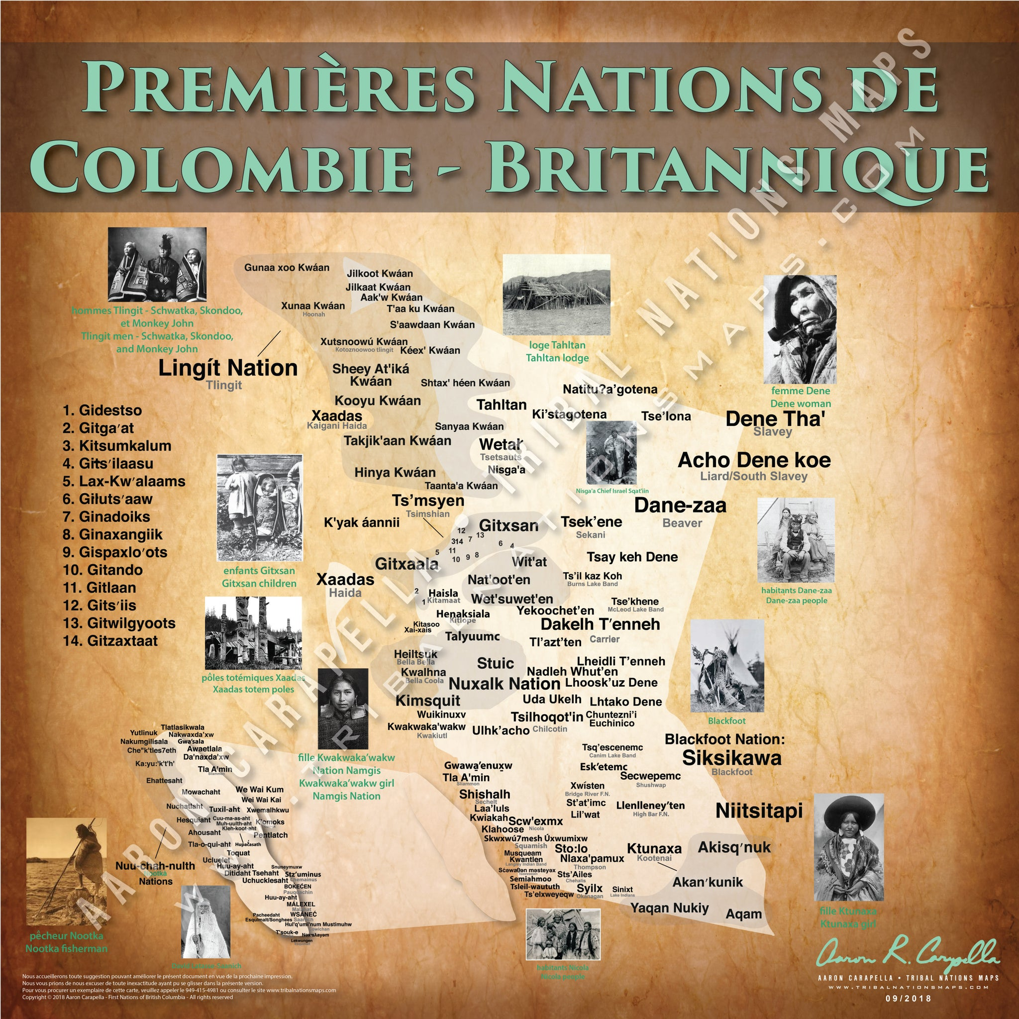 Tribal Nations of British Columbia Map (French Version)