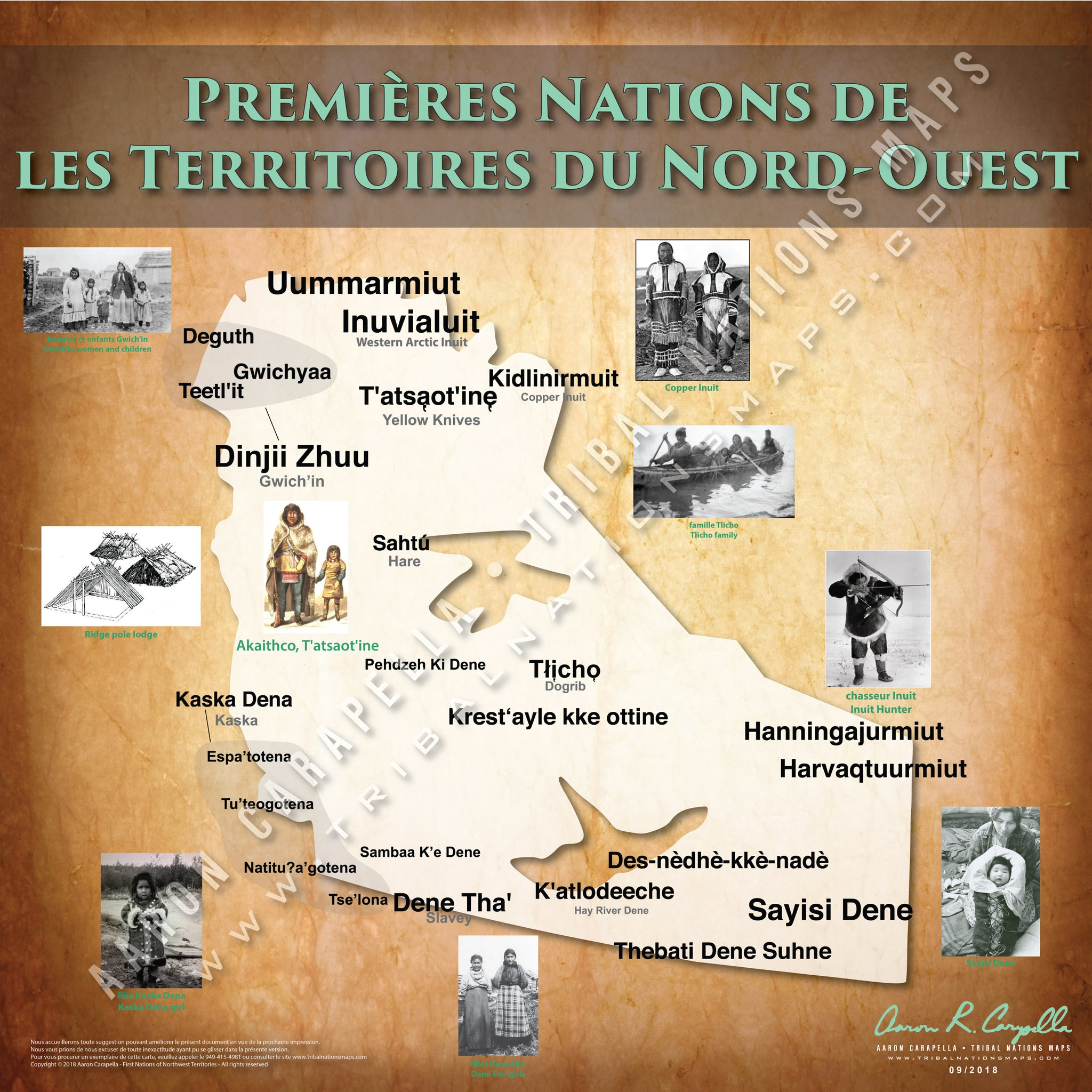 Tribal Nations of Northwest Territories Map (French Version)