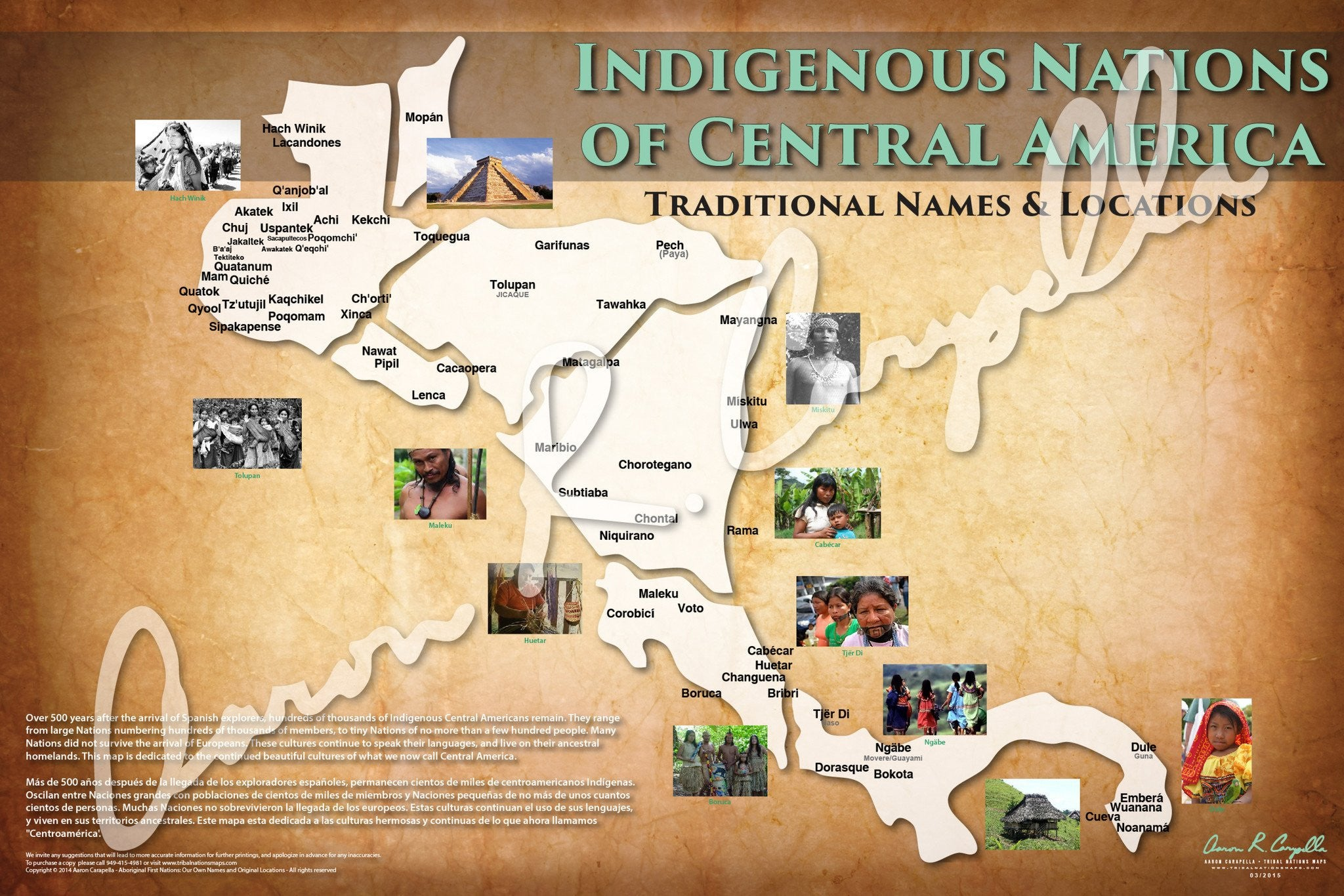 Indigenous Nations of Central America Map (Native and Common Names)