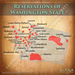 Washington State Indian Reservation Map Poster [Native American Map Poster / Wall Art]