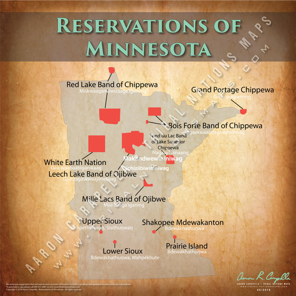Minnesota Indian Reservation Map Poster [Native American Map Poster / Wall Art]