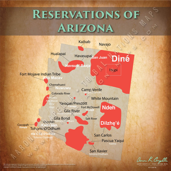 Arizona Indian Reservation Map Poster [Native American Map Poster / Wall Art]