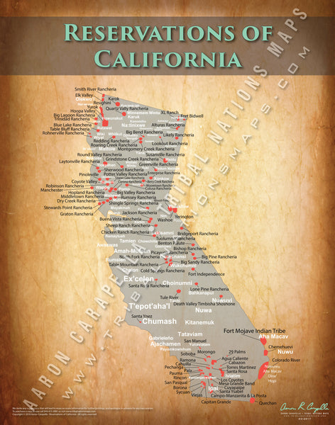 California Indian Reservation Map Poster [Native American Map Poster / Wall Art]
