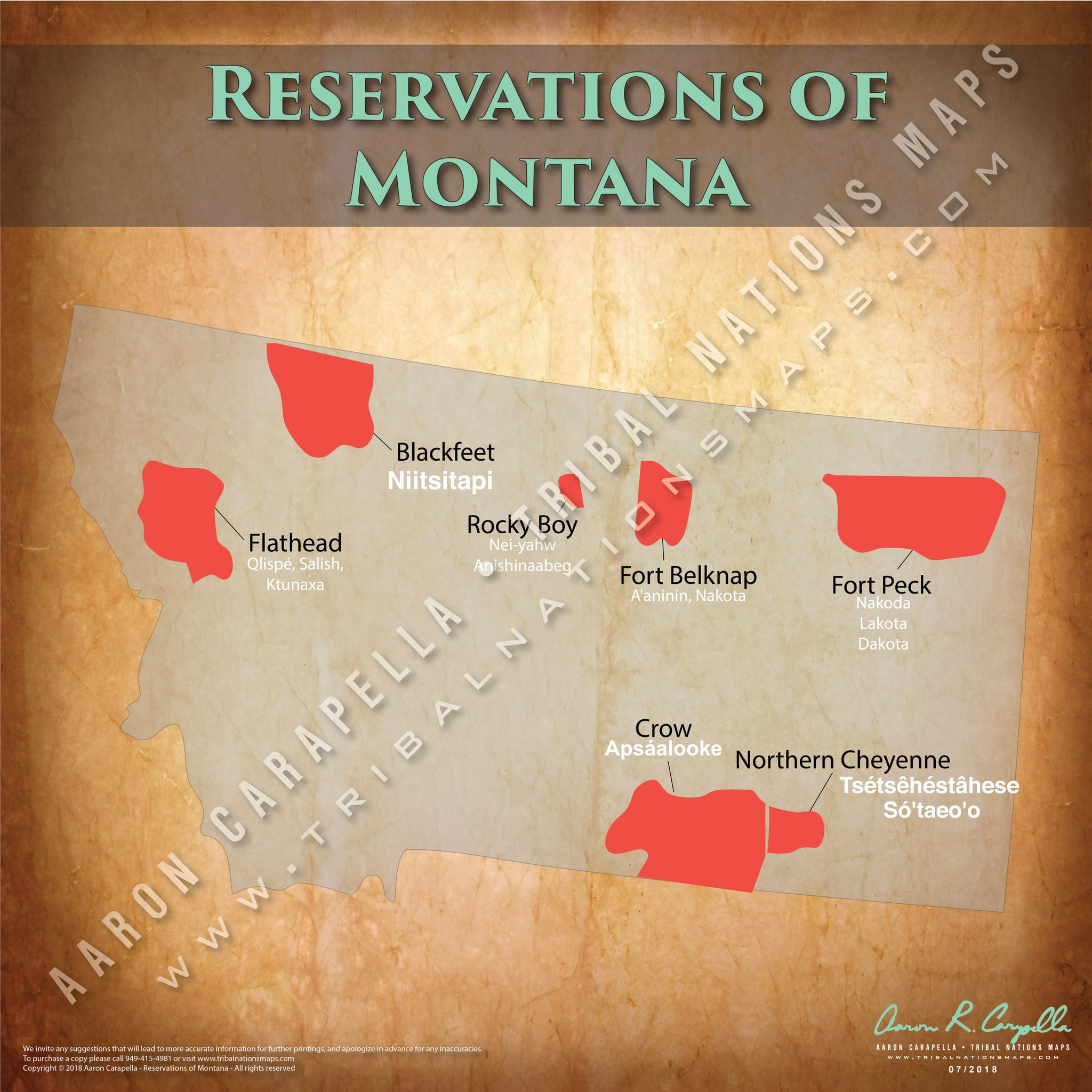 Montana Indian Reservation Map Poster [Native American Map Poster / Wall Art]