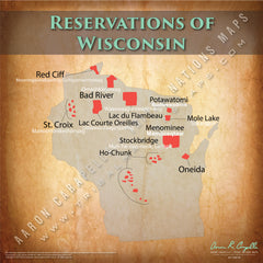 Wisconsin Indian Reservation Map Poster [Native American Map Poster / Wall Art]