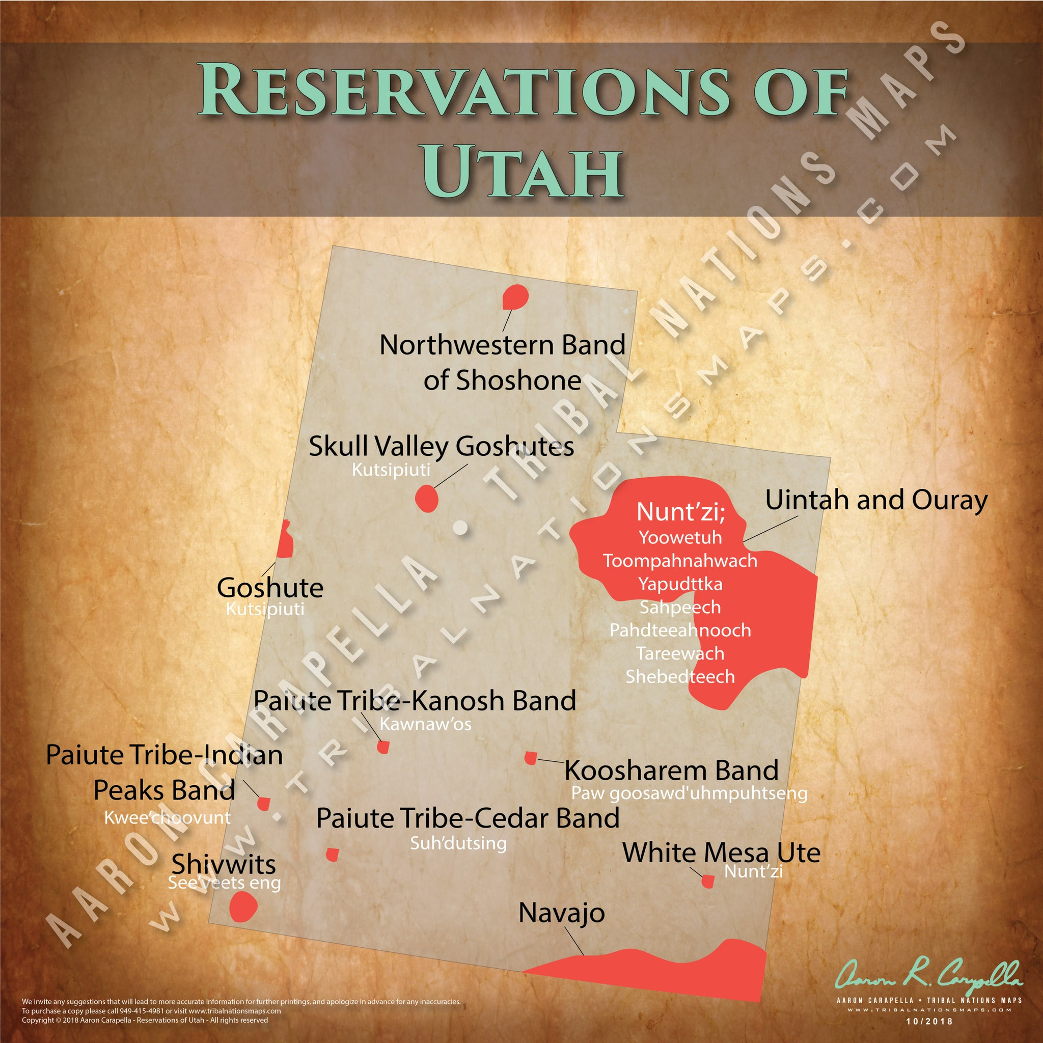 Utah Indian Reservation Map Poster [Native American Map Poster / Wall Art]