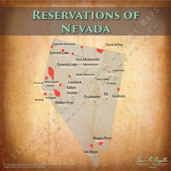 Nevada Indian Reservation Map Poster [Native American Map Poster / Wall Art]