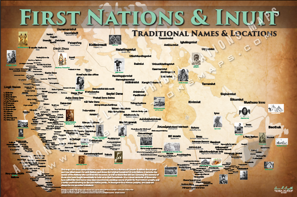 First Nations & Inuit Tribal Map Poster / Wall Art