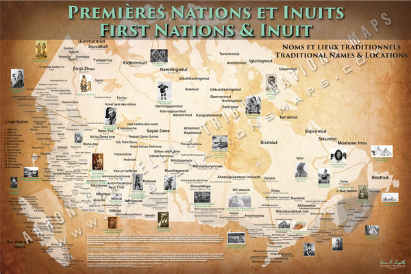First Nations & Inuit Tribal Map Poster / Wall Art (French Version)