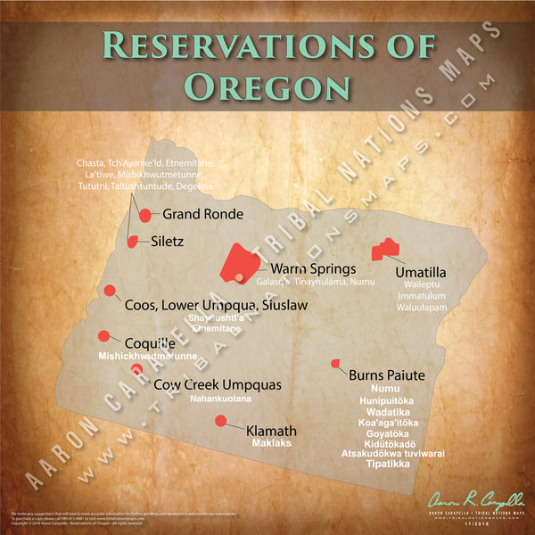 Oregon Indian Reservation Map Poster [Native American Map Poster / Wall Art]