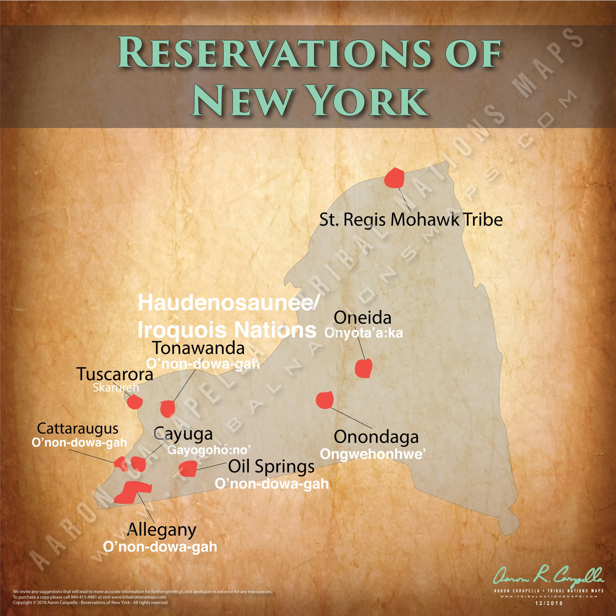 New York Indian Reservation Map Poster [Native American Map Poster / Wall Art]
