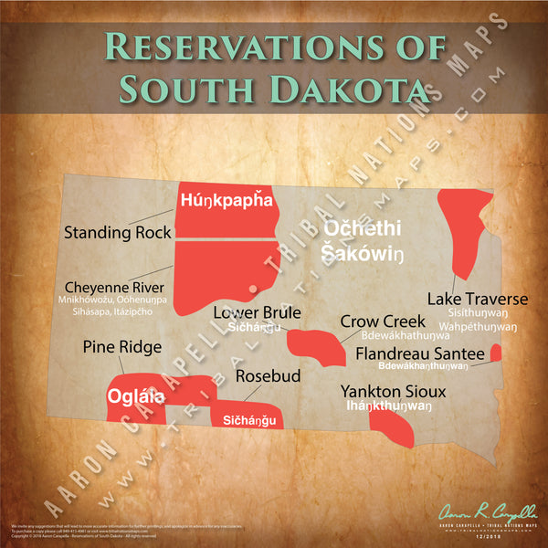 South Dakota Indian Reservation Map Poster [Native American Map Poster / Wall Art]