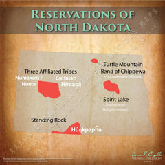 North Dakota Indian Reservation Map Poster [Native American Map Poster / Wall Art]