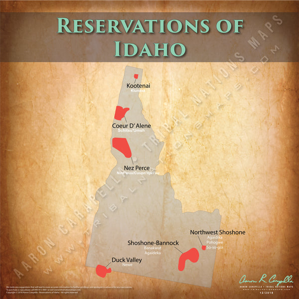 Idaho Indian Reservation Map Poster [Native American Map Poster / Wall Art]