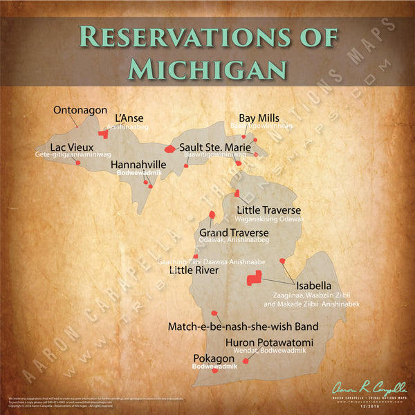 Michigan Indian Reservation Map Poster [Native American Map Poster / Wall Art]
