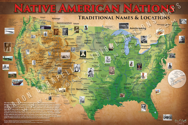 Indian Tribes Topographical Map Poster / Wall Art (Indigenous Peoples & Native American Tribal Map)