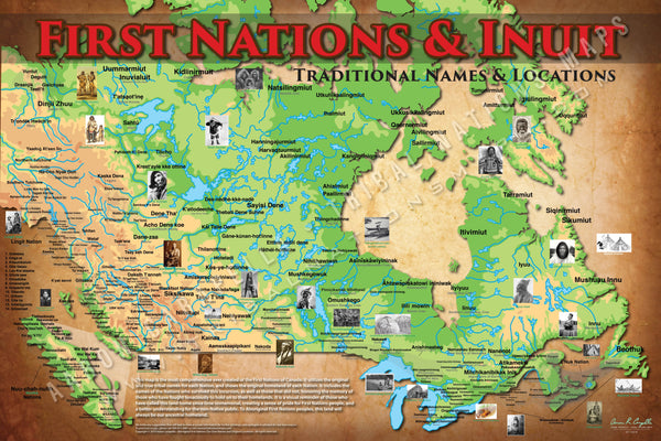 First Nations & Inuit Tribal Topographical Map Poster / Wall Art