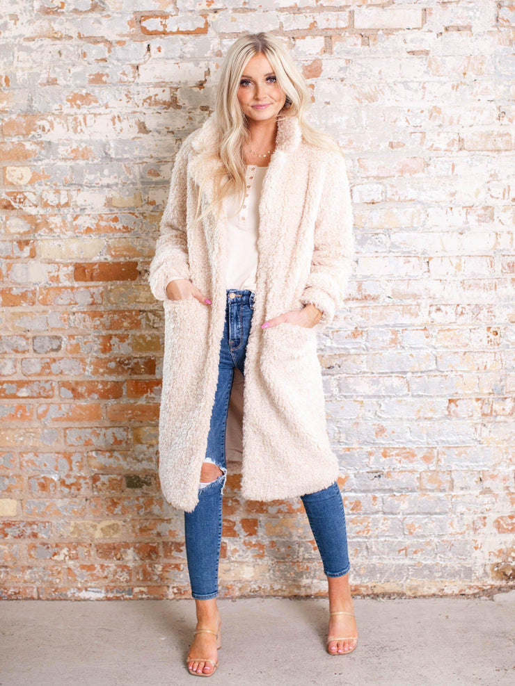 long faux fur coat