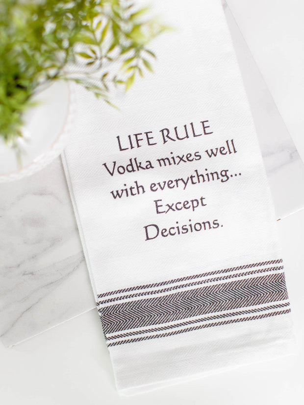 vodka mixes well dish towel