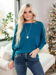 Vertical Ribbed Dolman Sleeve Boat Neck Pullover Sweater