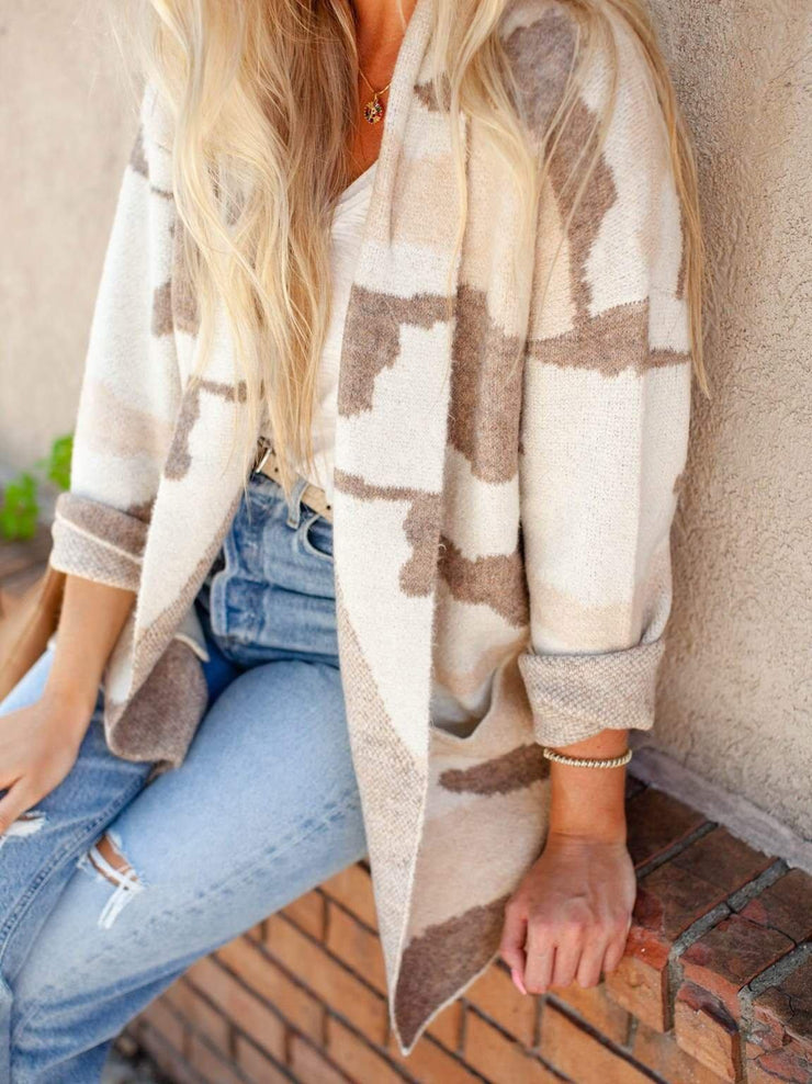 Neutral Camo Printed Open Front Cardigan