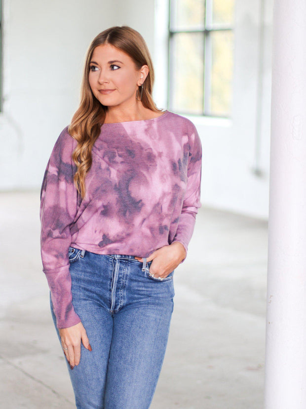 tie dye tonal long sleeve top