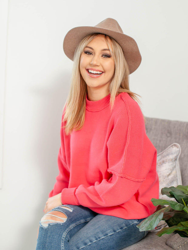 pink drop shoulder relaxed sweater