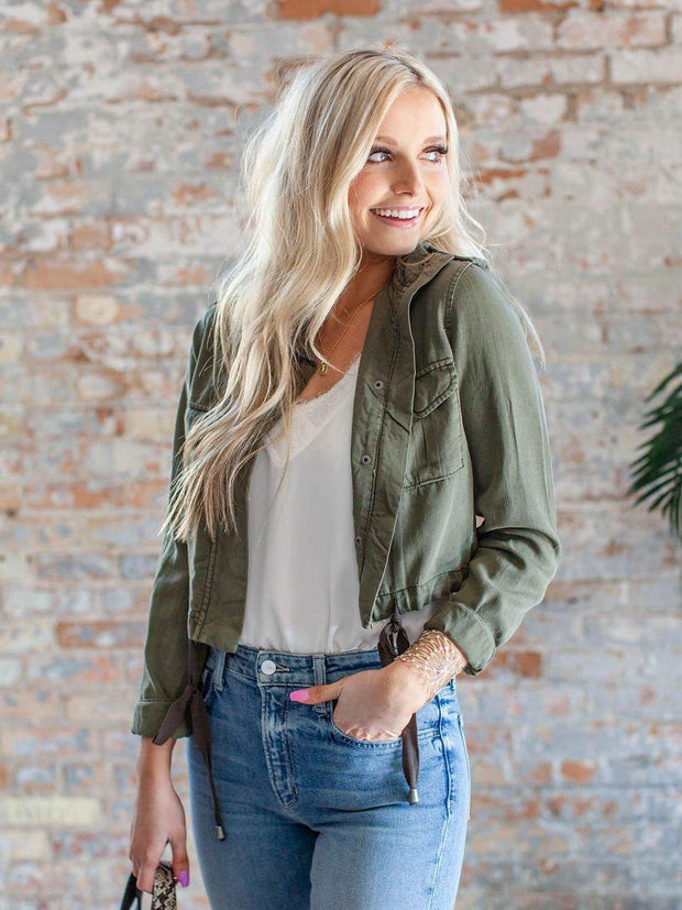 Cropped Utility Inspired Cropped Jacket