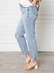 distressed chewed hem straight denim