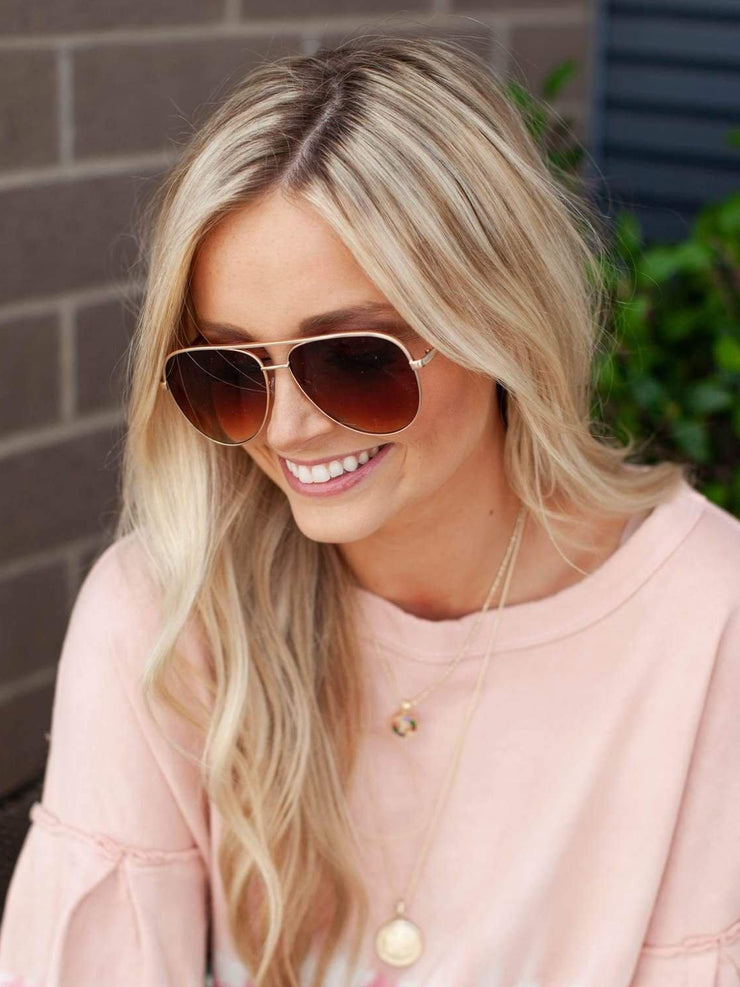Brown Gradient Aviator Sunglasses