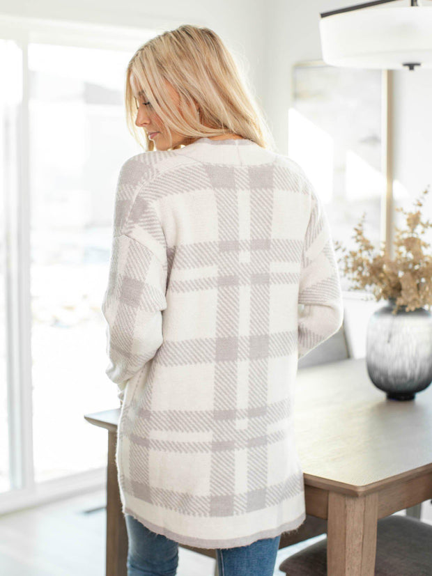 neutral plaid cardigan