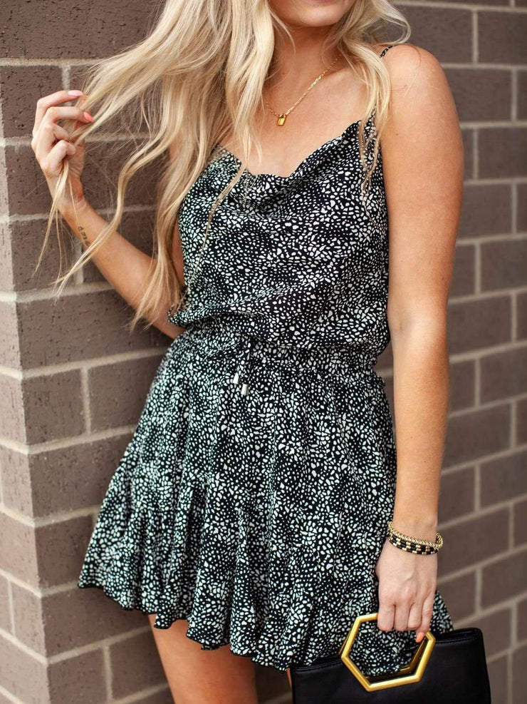 Animal Print Drape Neck Romper
