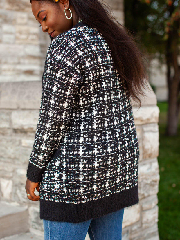 Checkered Long Knit Pocket Front Cardigan