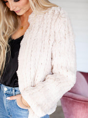 heartloom ribbed super soft faux fur open front coat