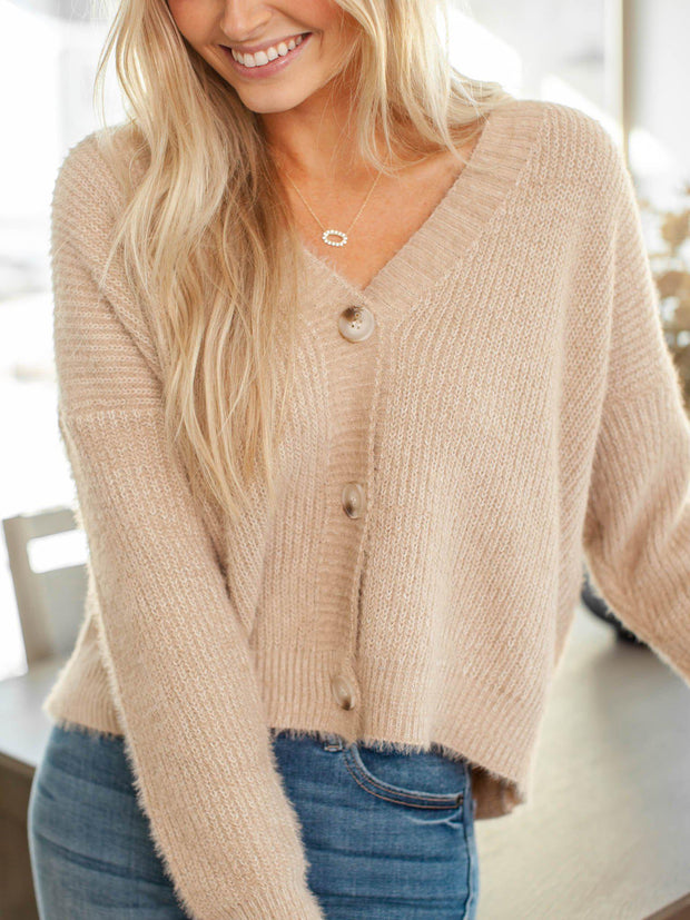 drop shoulder ribbed cardigan