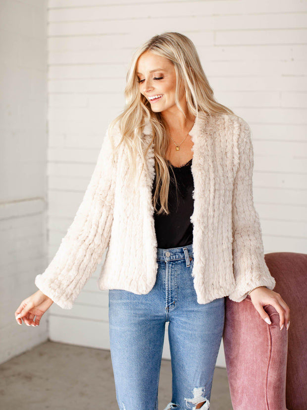 open front faux fur heartloom jacket