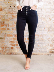 exposed button black denim