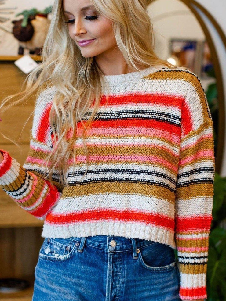 Stripe Cropped Billabong Textured Sweater