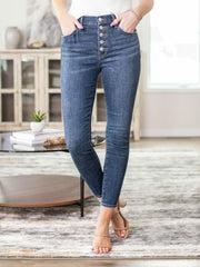 exposed button fly denim